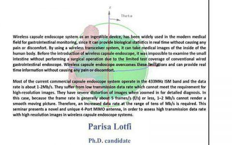 نرخ بالا داده های جدید آنتن میمو برای سیستم های آندوسکوپ کپسول وایرلس قابل هضم- پریسا لطفی